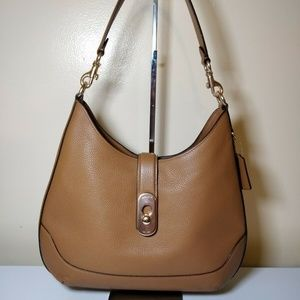 COACH AMBER PEBBLE LEATHER SHOULDER HOBO Saddle